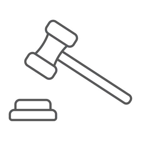 Auction thin line icon, e commerce and marketing, judge gavel sign vector graphics, a linear pattern on a white background