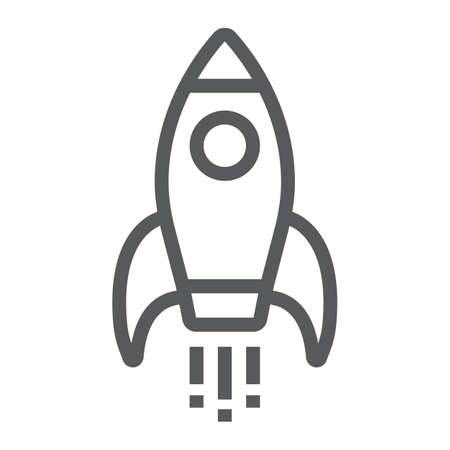 Startup line icon, development and business, rocket sign vector graphics, a linear pattern on a white background, eps 10. Illustration