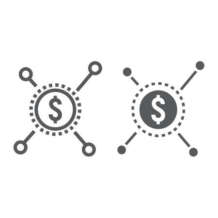 Crowd funding line and silhouette icon, development and business, sponsor sign vector graphics on a white background.