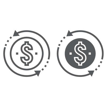 Return on investment line and glyph icon, development and business, money back sign vector graphics, a linear pattern on a white background, eps 10. Ilustrace