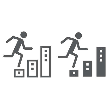 Career line and glyph icon, development and business, man climbs up on graph sign vector graphics, a linear pattern on a white background, eps 10.
