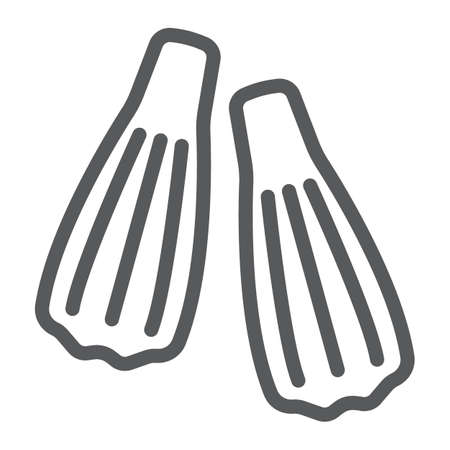 Swimming flippers line icon, diving and underwater, fins sign vector graphics, a linear pattern on a white background, eps 10. Illustration
