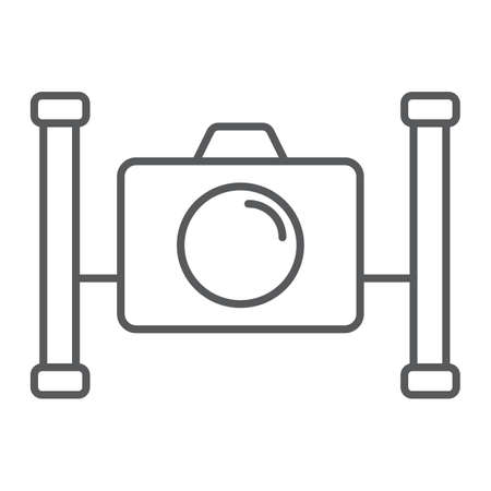 Underwater camera thin line icon, diving and underwater, snorkeling sign vector graphics, a linear pattern on a white background, eps 10.
