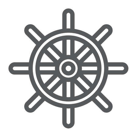 Ship Steering Wheel line icon, navigator and geography, travel sign vector graphics Illustration