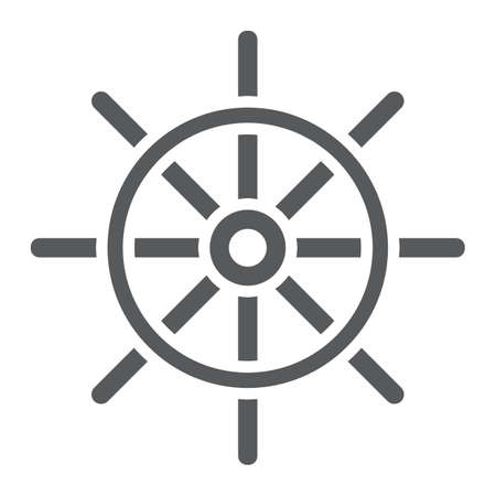 Ship Steering Wheel glyph icon, navigator and geography, travel sign vector graphics
