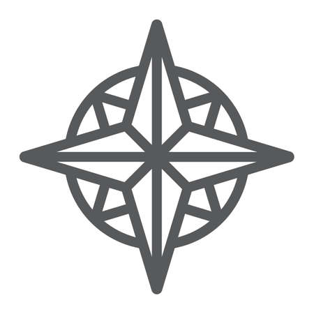 Compass line icon, navigator and geography, wind rose sign vector graphics