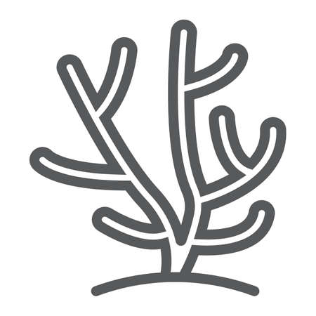 Coral line icon, ocean and underwater, tropical sign vector graphics, a linear pattern on a white background, eps 10.
