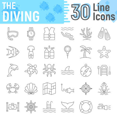 Scuba diving thin line icon set, underwater symbols collection, vector sketches, icon illustrations, sea signs linear pictograms package isolated on white background.
