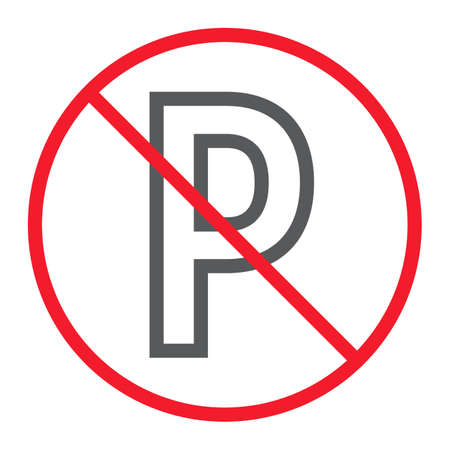 No parking line icon, prohibition and forbidden, no car sign vector graphics, a linear pattern on a white background Illustration
