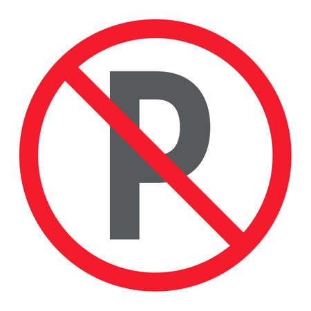 No parking glyph icon, prohibition and forbidden, no car sign vector graphics, a solid pattern on a white background, eps 10.