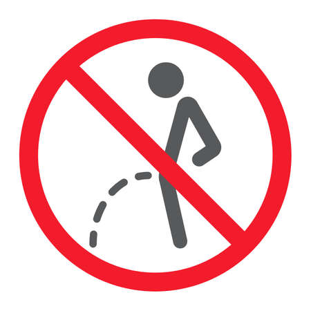 No peeing glyph icon, prohibition and forbidden, no toilet sign vector graphics, a solid pattern on a white background