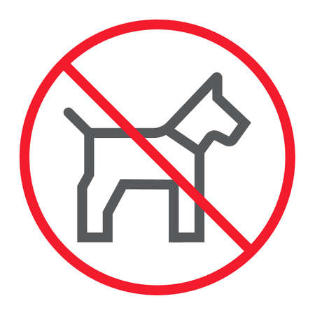 No dog line icon, prohibition and forbidden, no pet sign vector graphics, a linear pattern on a white background Illustration
