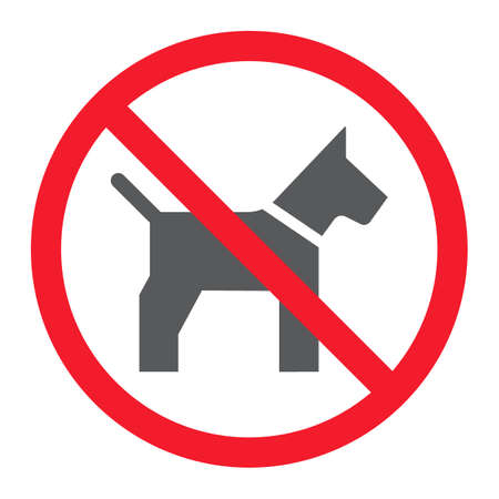 No dog glyph icon, prohibition and forbidden, no pet sign vector graphics, a solid pattern on a white background