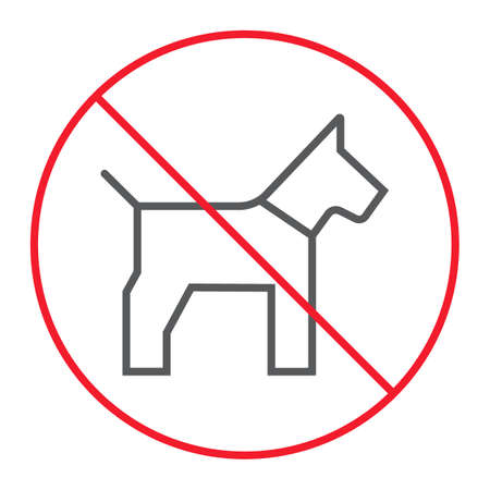No dog thin line icon, prohibition and forbidden, no pet sign vector graphics, a linear pattern on a white background Illustration