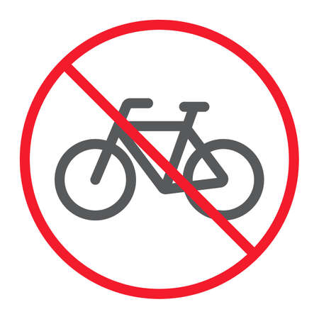 No bicycle line icon, prohibition and forbidden, no bike sign vector graphics, a linear pattern on a white background