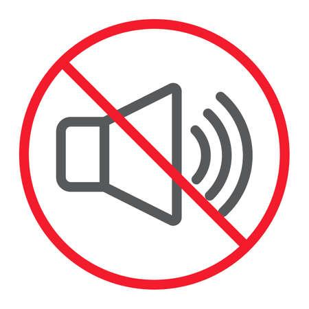 Brak ikony linii dźwiękowej, zakaz i zakaz, grafika wektorowa znak hałasu, liniowy wzór na białym tle, eps 10.