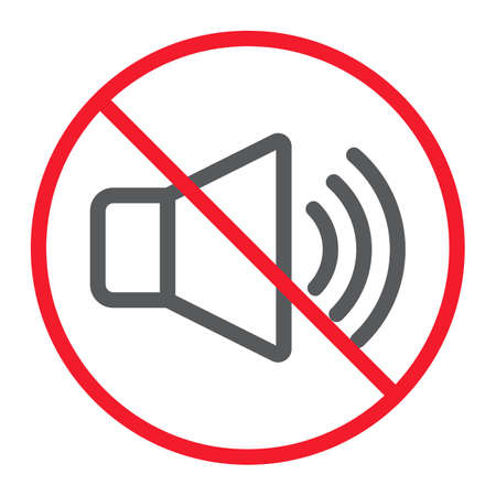 No sound line icon, prohibition and forbidden, no noise sign vector graphics, a linear pattern on a white background, eps 10. Stok Fotoğraf - 99247268
