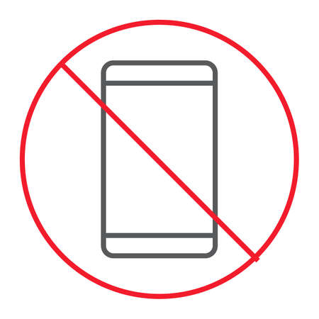 No phone thin line icon, prohibition and forbidden, no smartphone sign vector graphics, a linear pattern on a white background, eps 10.