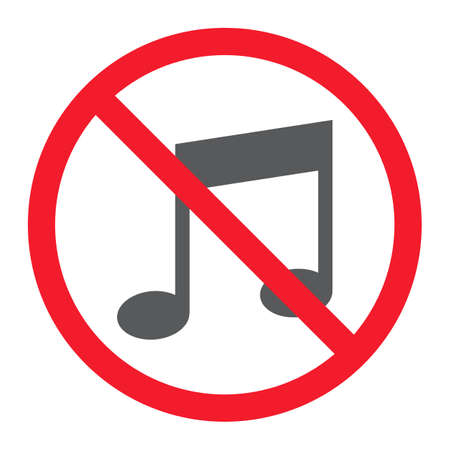 No music glyph icon, prohibition and forbidden, no melody sign vector graphics, a solid pattern on a white background, eps 10.
