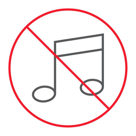 No music thin line icon, prohibition and forbidden, no melody sign vector graphics, a linear pattern on a white background, eps 10.