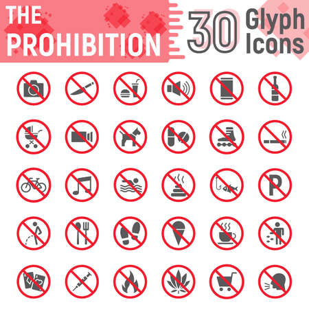 Prohibition glyph icon set, forbidden symbols collection, vector sketches, logo illustrations, ban signs solid pictograms package isolated on white background Stock Illustratie