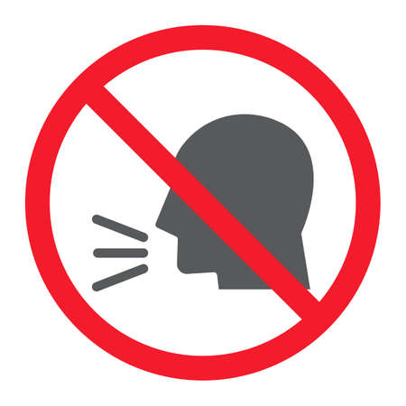 Keep silence glyph icon, prohibition and forbidden, no sound sign vector graphics, a solid pattern on a white background