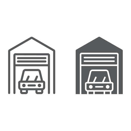 Car garage line and glyph icon, automobile and home, real estate sign vector graphics, a linear pattern on a white background, eps 10. Illustration