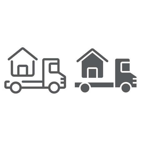 Truck delivers the house line and glyph icon, real estate and home, home delivery vector graphics, a linear pattern on a white background, eps 10. Illustration