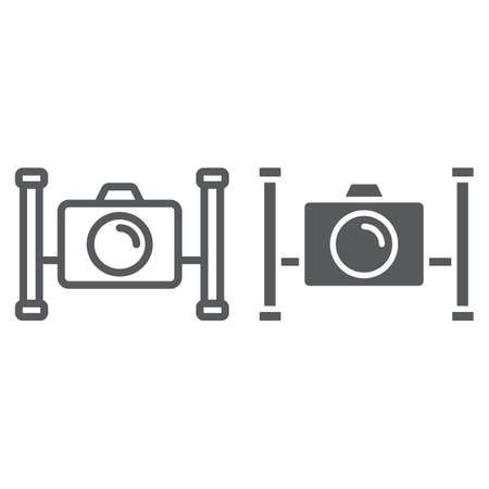 Underwater camera line and glyph icon, diving and underwater, snorkeling sign vector graphics, a linear pattern on a white background, eps 10.