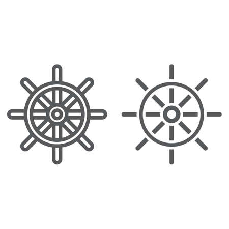 Ship Steering Wheel line and glyph icon, navigator and geography, travel sign vector graphics, a linear pattern on a white background, eps 10. Illustration