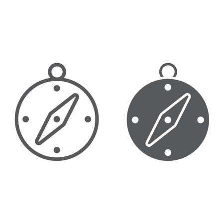 Compass line and glyph icon, navigator and travel, adventure sign vector graphics, a linear pattern on a white background.