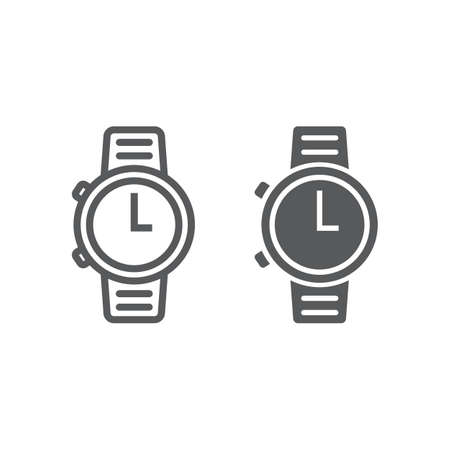 Watch line and glyph icon, clock and time, starp sign vector graphics, a linear pattern on a white background, eps 10.
