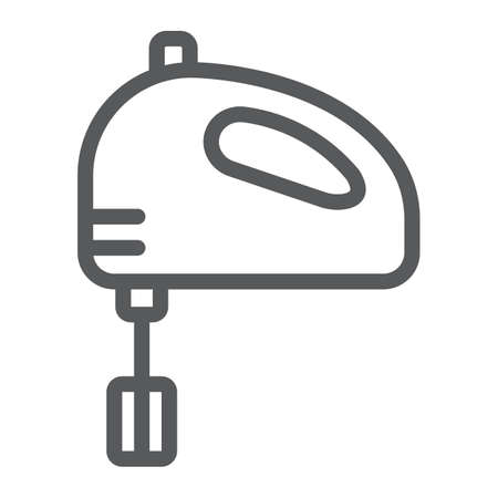 Hand mixer line icon, kitchen and cooking, blender sign vector graphics, a linear pattern on a white background, eps 10.