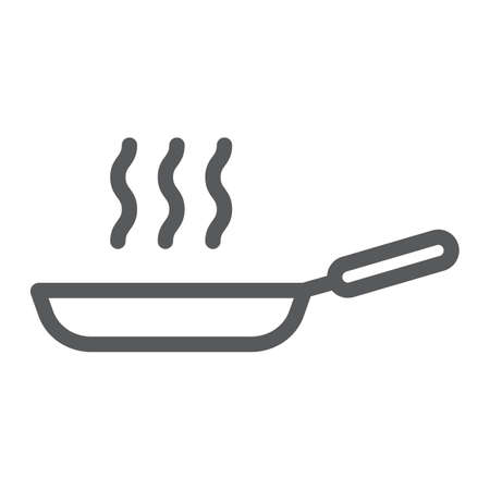 Frying pan line icon, kitchen and cooking, fry sign vector graphics, a linear pattern on a white background, eps 10.