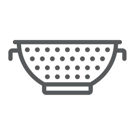 Colander line icon, kitchen and cooking, strainer sign vector graphics, a linear pattern on a white background, eps 10. Vettoriali