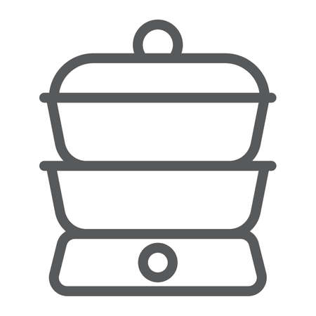 Double boiler line icon, kitchen and cooking, household sign vector graphics, a linear pattern on a white background, eps 10.