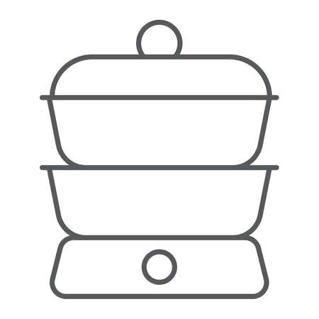 Double boiler thin line icon, kitchen and cooking, household sign vector graphics, a linear pattern on a white background, eps 10. Stock Illustratie