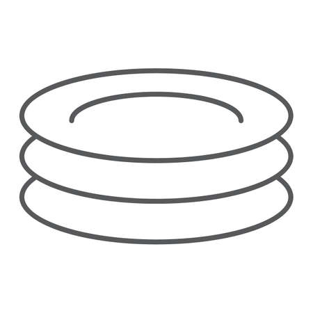 Plates thin line icon, kitchen and cooking, dishes sign vector graphics, a linear pattern on a white background.