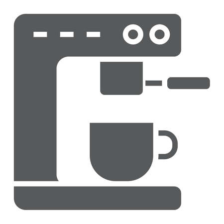 Coffee machine glyph icon, kitchen and cooking, cup sign vector graphics, a solid pattern on a white background.