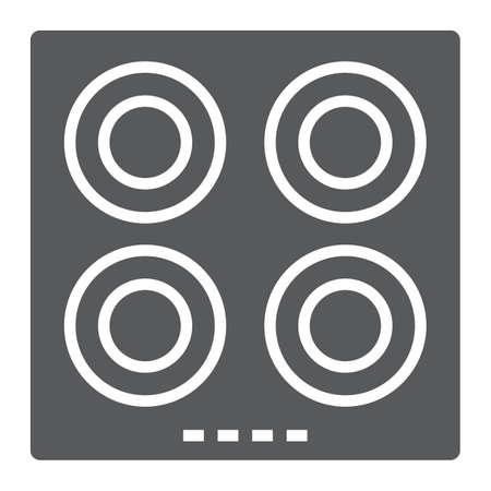 전기 핫 플레이트 모양 아이콘, 주방 및 요리 표면, 가정용 기호 벡터 그래픽, 흰색 배경에 단색 패턴. 스톡 콘텐츠 - 100393736