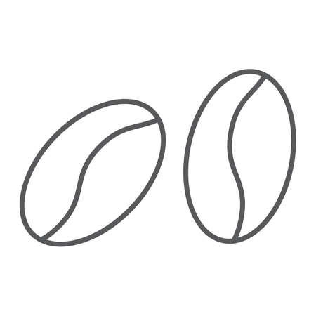 Coffee beans thin line icon, coffee and cafe, arabic sign vector graphics, a linear pattern on a white background, eps 10. 일러스트