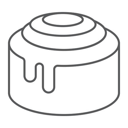Cinnamon Bun Roll thin line icon, sweet and tasty, dessert sign vector graphics, a linear pattern on a white background, eps 10.