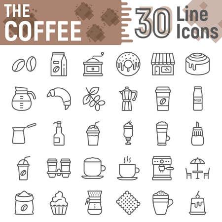 Insieme dell'icona della linea di caffè, raccolta di simboli della caffetteria, disegni vettoriali, illustrazioni di logo, pacchetto di pittogrammi lineari di segni di dolci isolato su sfondo bianco, eps 10.