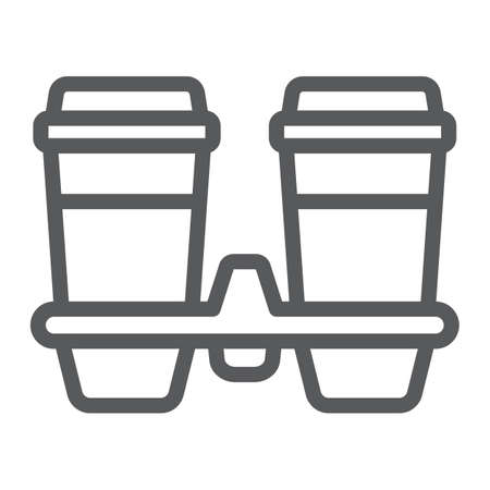 Take away coffee cups line icon, cofeee and cafe, coffee holder sign vector graphics, a linear pattern on a white background, eps 10. Ilustración de vector