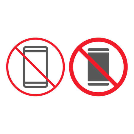No phone line and glyph icon, prohibition and forbidden, no smartphone sign vector graphics, a linear pattern on a white background, eps 10.