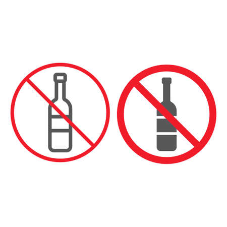 No alcohol line and glyph icon, prohibition and forbidden, no drink sign vector graphics, a linear pattern on a white background, eps 10.