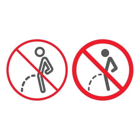No peeing line and glyph icon, prohibition and forbidden, no toilet sign vector graphics, a linear pattern on a white background, eps 10.