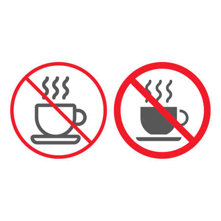No coffee cup line and glyph icon, prohibition and forbidden, no tea sign vector graphics, a linear pattern on a white background, eps 10.