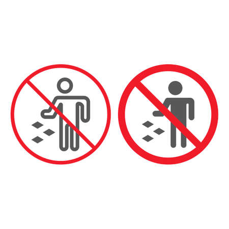 Do not litter line and glyph icon, prohibition and forbidden, no garbage sign vector graphics, a linear pattern on a white background, eps 10. Иллюстрация