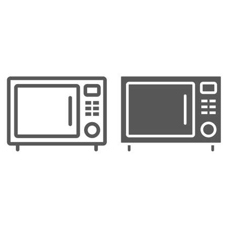 Microwave oven line and glyph icon, kitchen and cooking, household sign vector graphics, a linear pattern on a white background, eps 10.